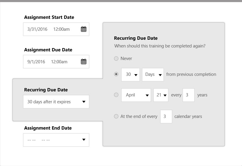 Set assignment start, end, due, and recurring dates