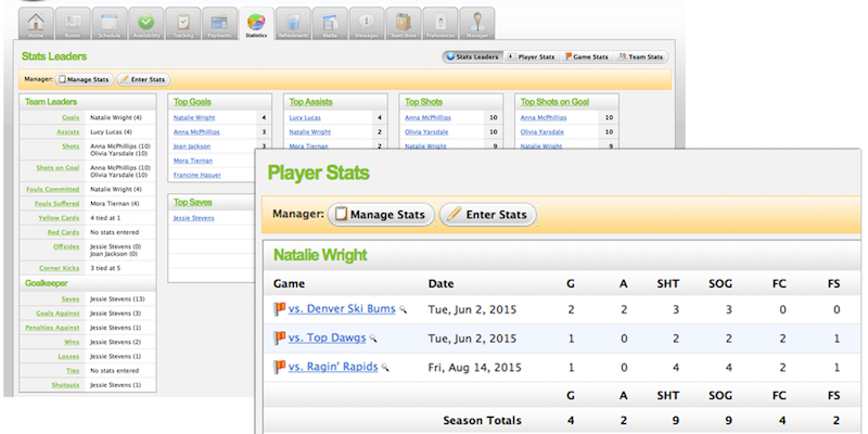 Users can view individual players' statistics on TeamSnap