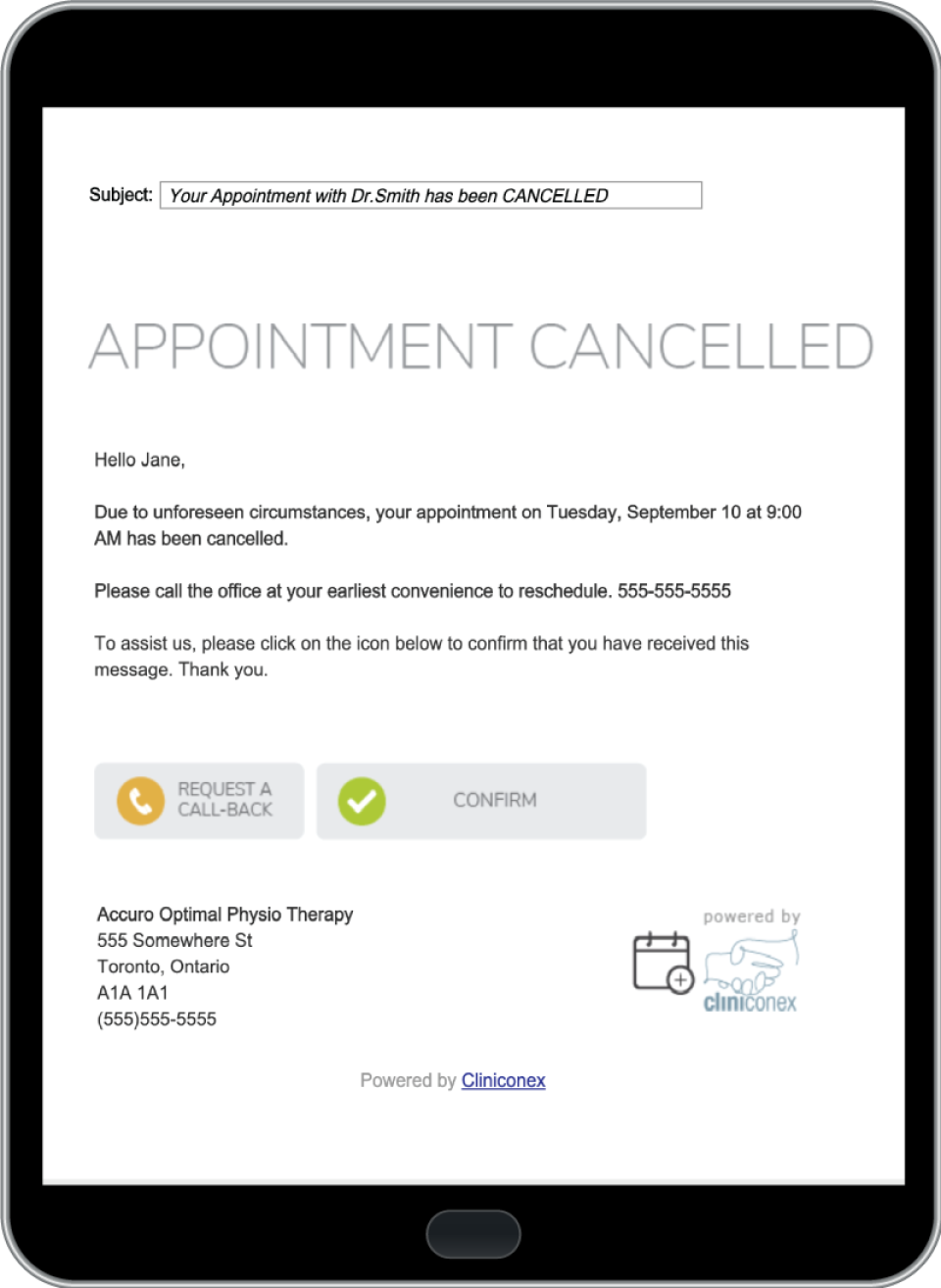 Cliniconex appointments
