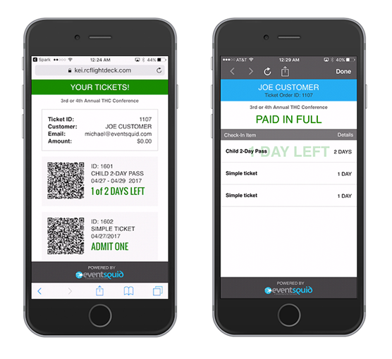 Digital tickets can be generated for online sale or at the event itself, bundling scanning capabilities into the mobile app and support for swiping credit cards for processing new admission transactions
