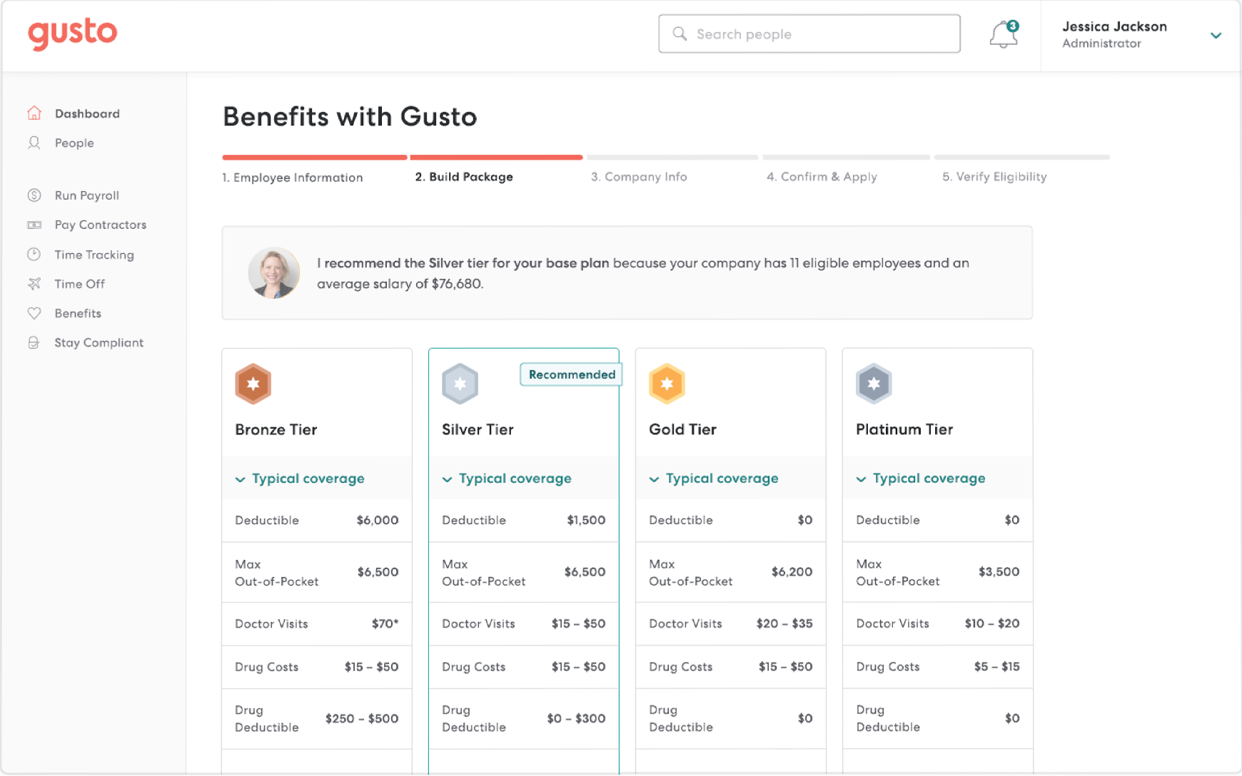 Gusto select benefits plan