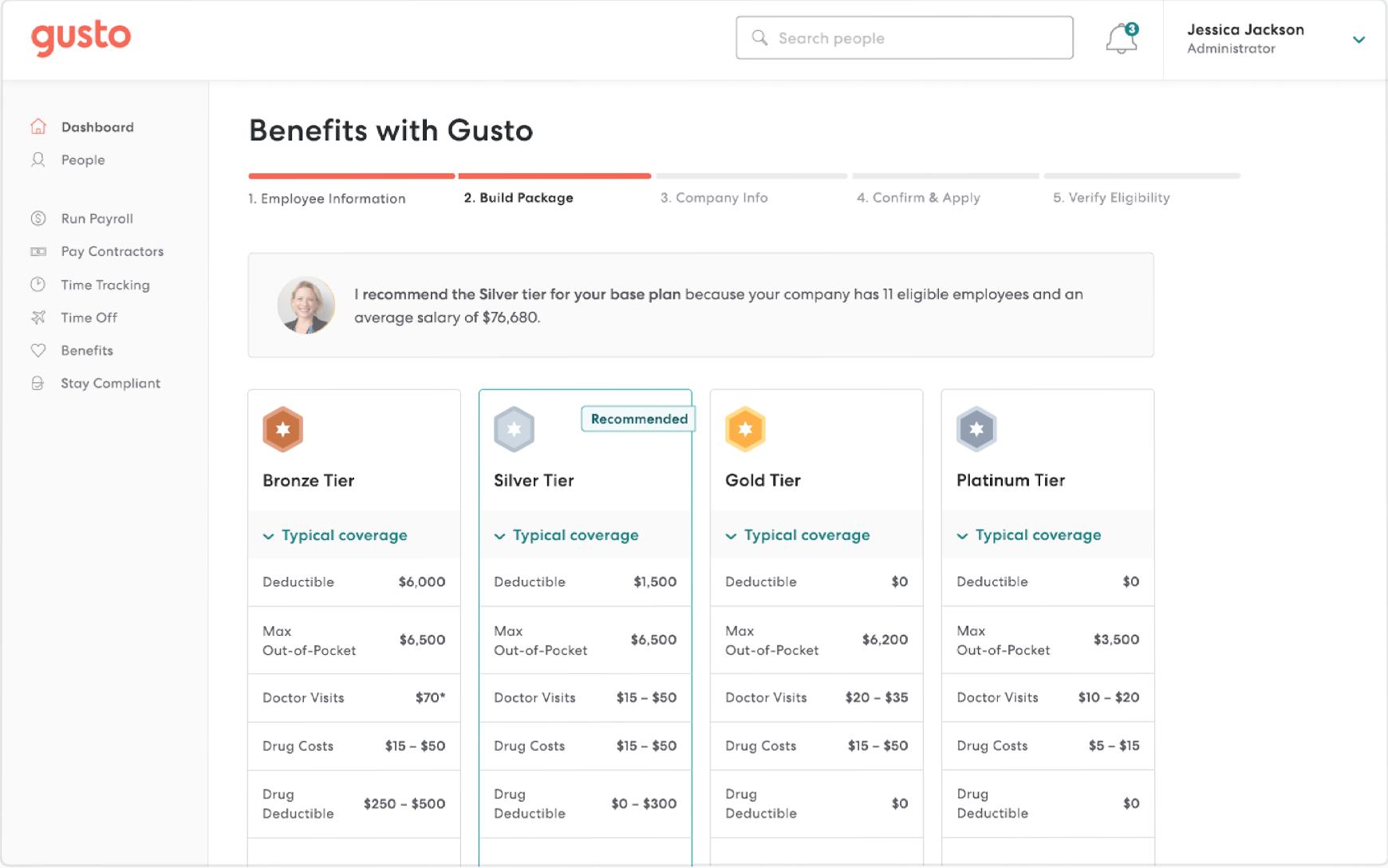 Gusto Software - Gusto select benefits plan