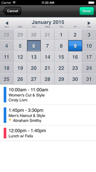 Side-by-side calendar view