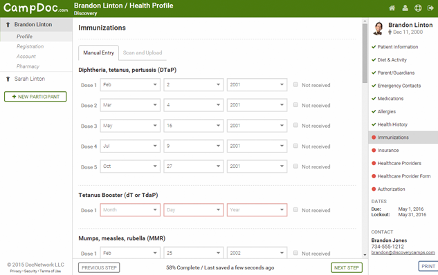 CampDoc electronic health records