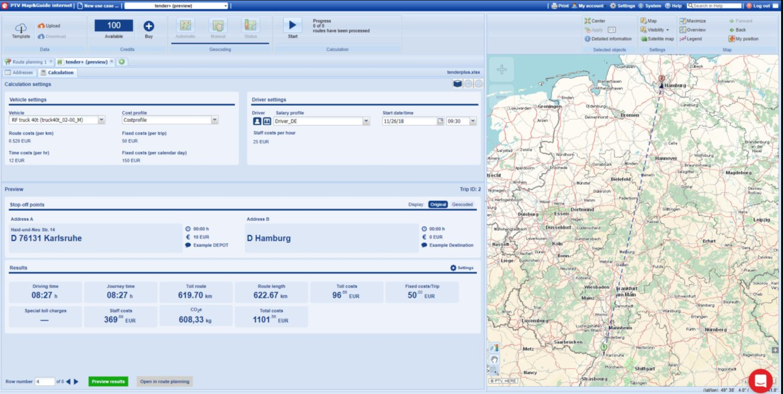 PTV Route Optimizer map and guide screenshot