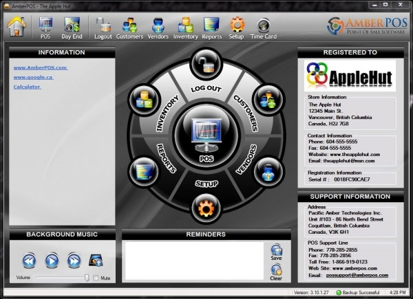 AmberPOS Software - Main menu