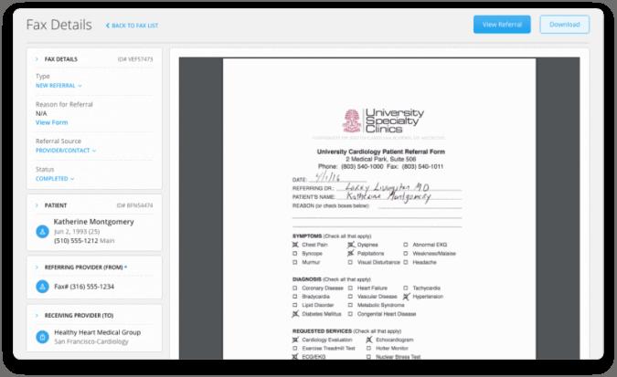 ReferralMD fax details