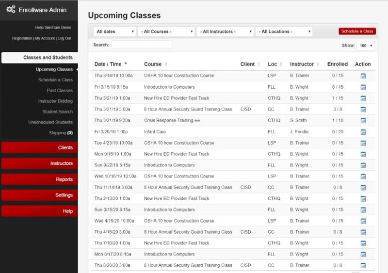 Enrollware scheduled classes