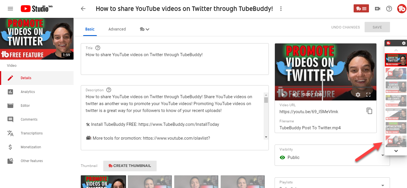 TubeBuddy share videos