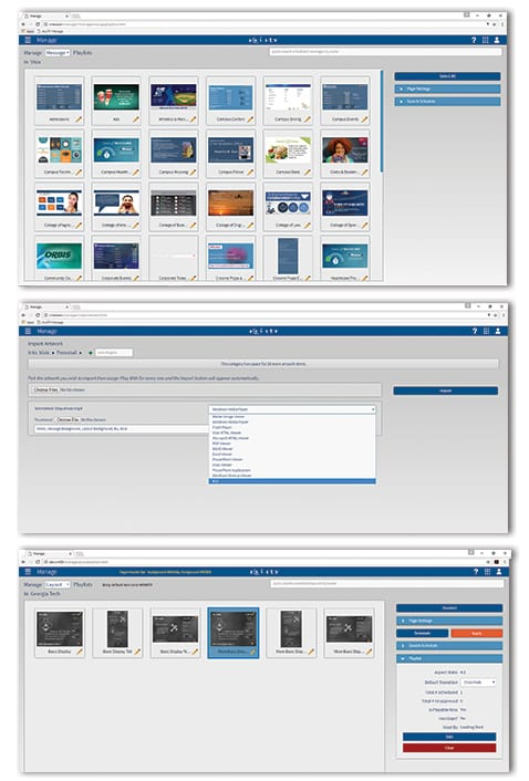 Drag-n-drop import, schedule and playlist management tools make managing digital signage content fast and easy. Point to a folder on your network to show still images and videos that automatically update on screens when the source file changes.