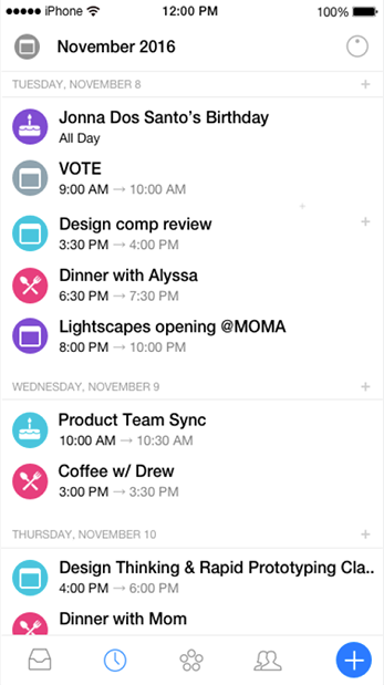 Multiple calendars can be combined into a single view