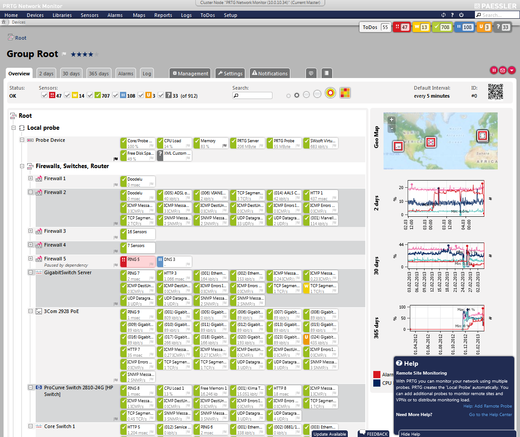 PRTG Network Monitor screenshot: Hierarchical Management of Devices and Sensors