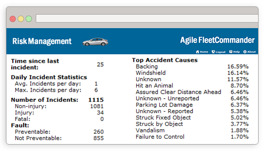 The risk management module supports fleet risk and accident management, providing visibility into accidents and claims processing