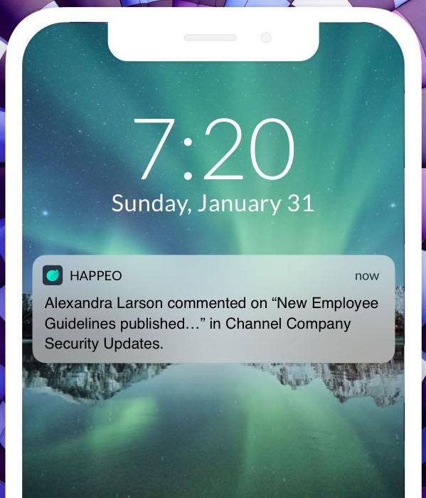 Happeo mobile notifications screenshot