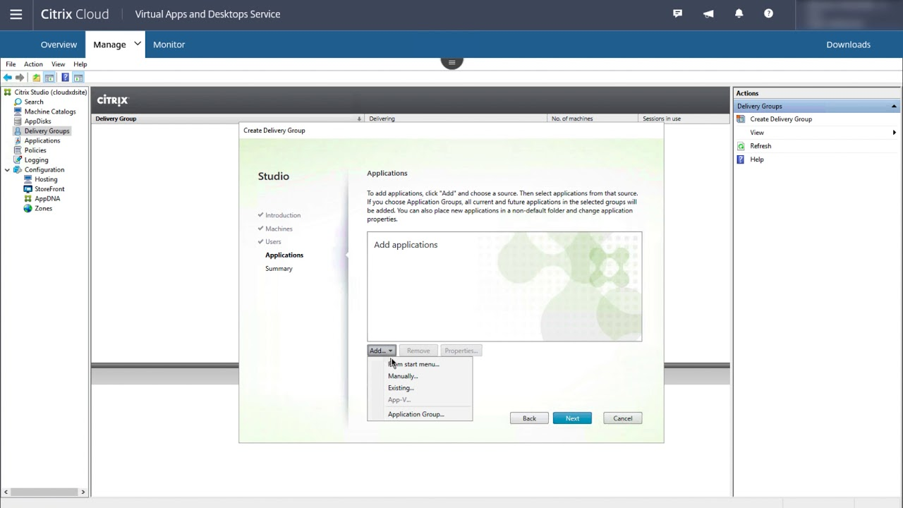 Citrix Virtual Apps and Desktops delivery group creation