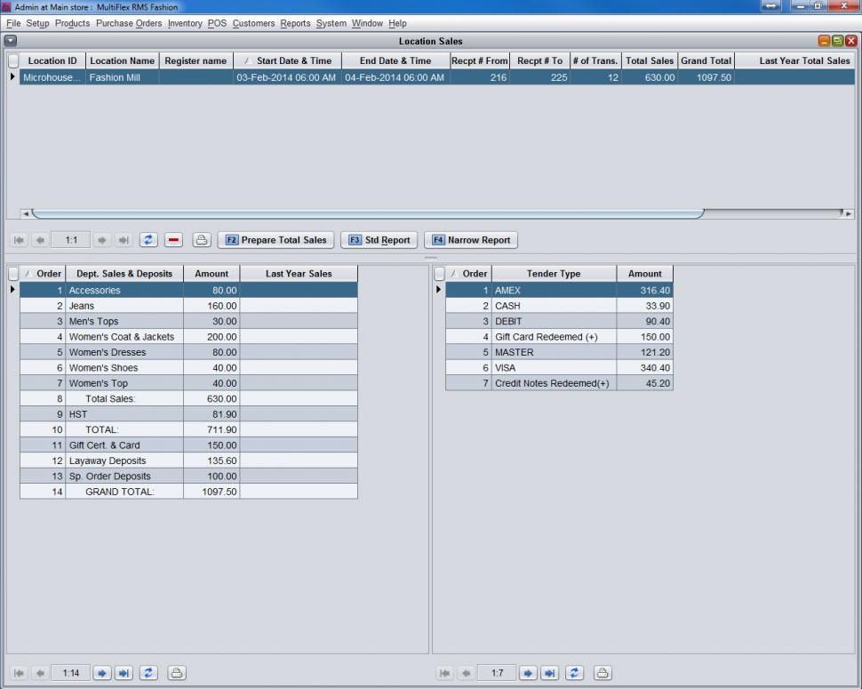 MultiFlex RMS Software - Sales Report Location Summary RMS