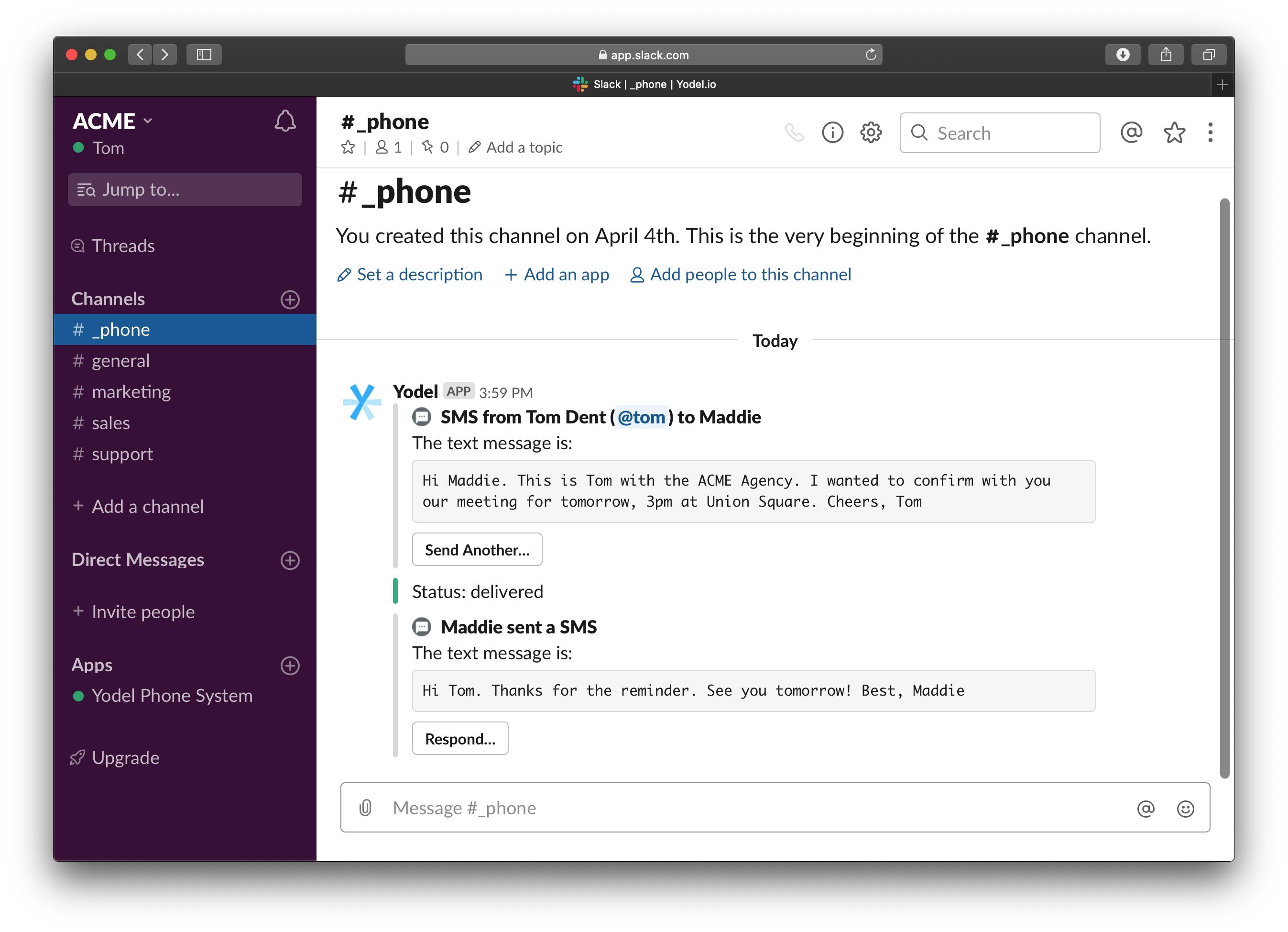 Yodel Slack SMS conversation screenshot