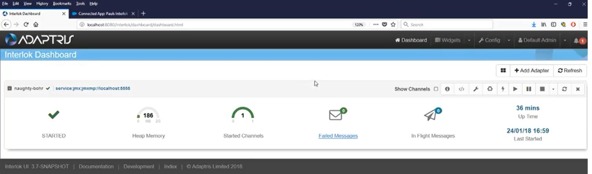 Adaptris Interlok screenshot: Interlok dashboard