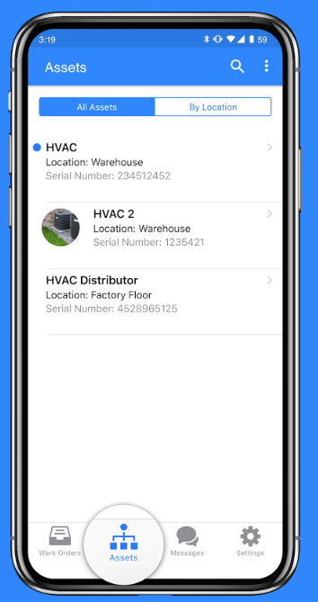 Manage all assets and locations via mobile