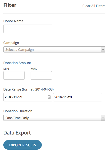 Filter and export donor data; or push donor data into a CRM with Donate.ly's API