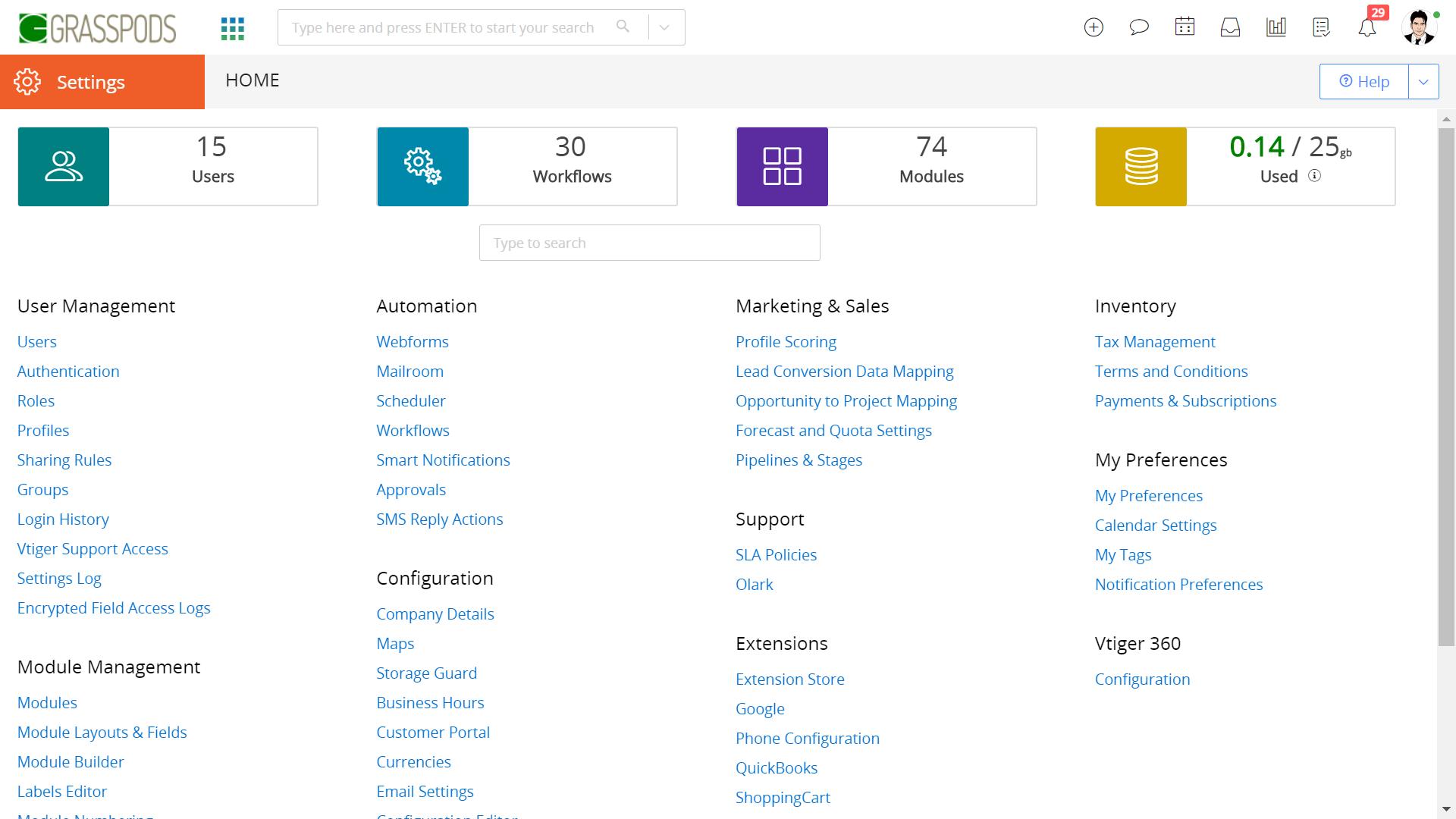 Vtiger CRM Software - Vtiger CRM Settings page