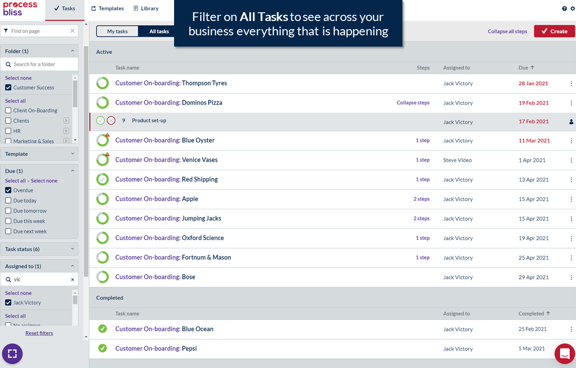 Track activity & tasks across your business