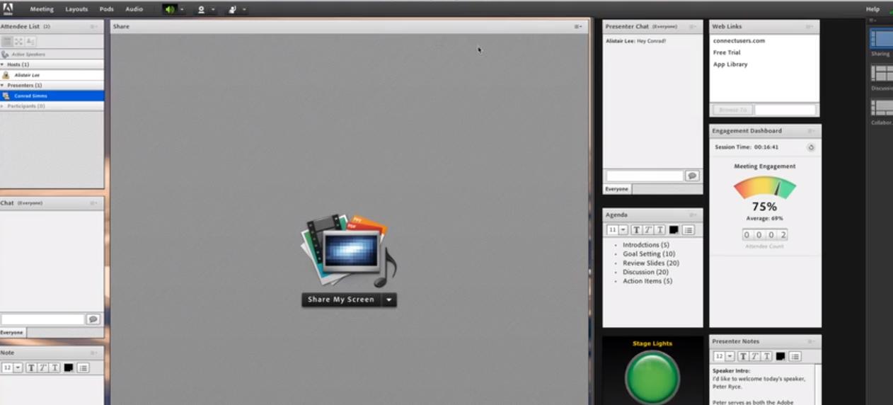 Adobe Connect screenshot: Adobe Connect engagement analytics