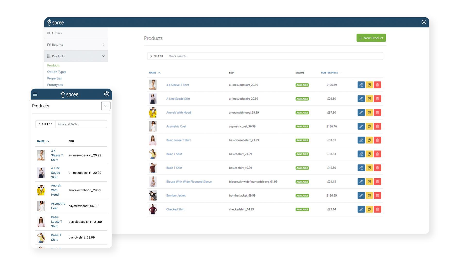 Spree Commerce responsive admin panel
