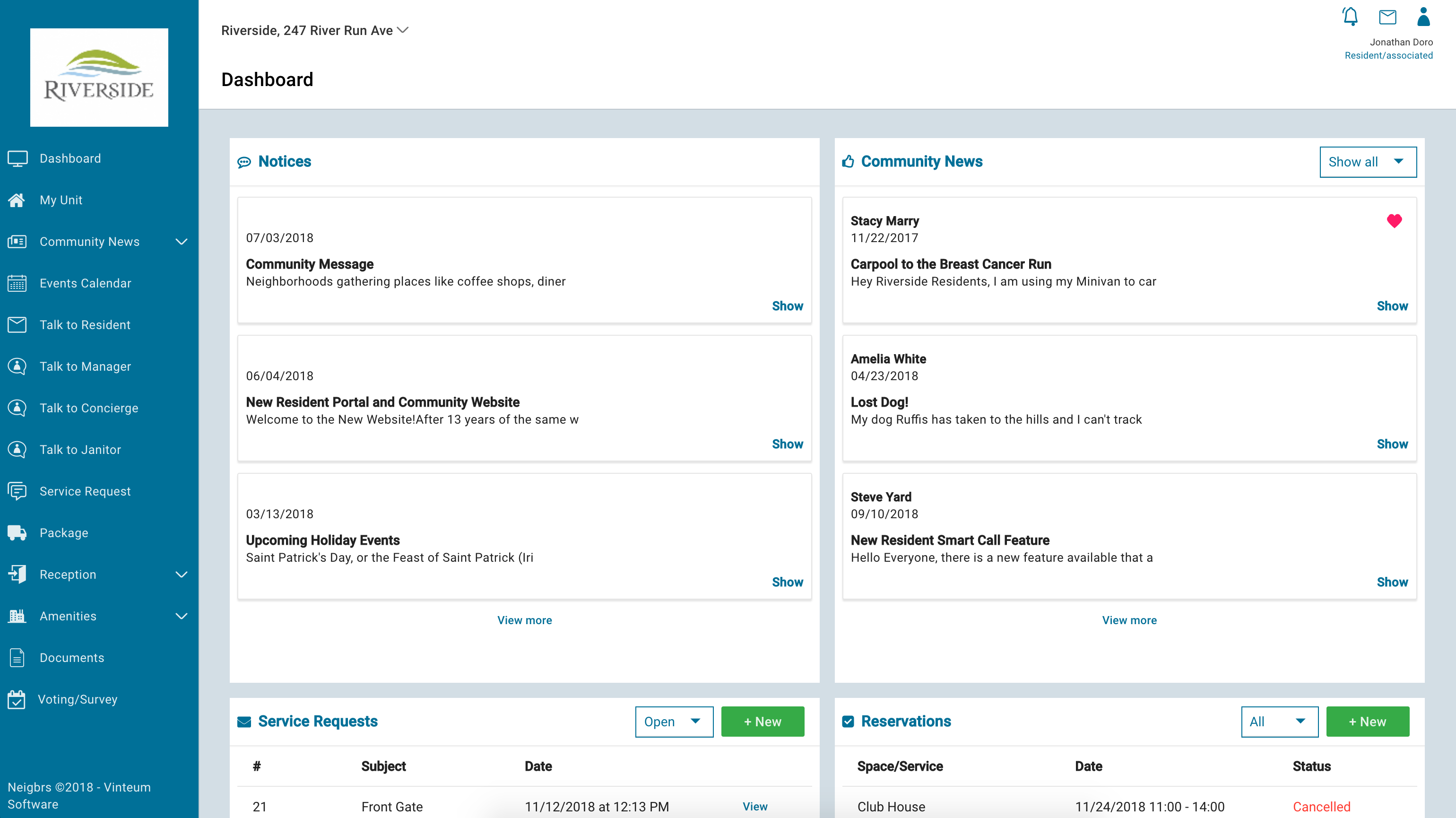 The dashboard shows an overview of notices, community news, service requests and amenity reservations