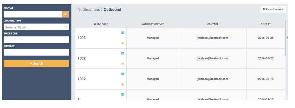 Export outbound notifications