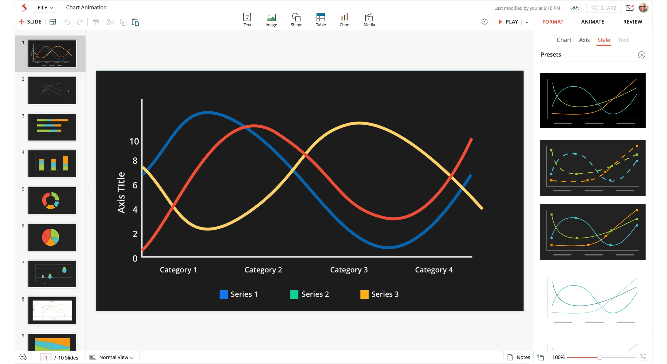 Chart being redesigned in Show (web interface)