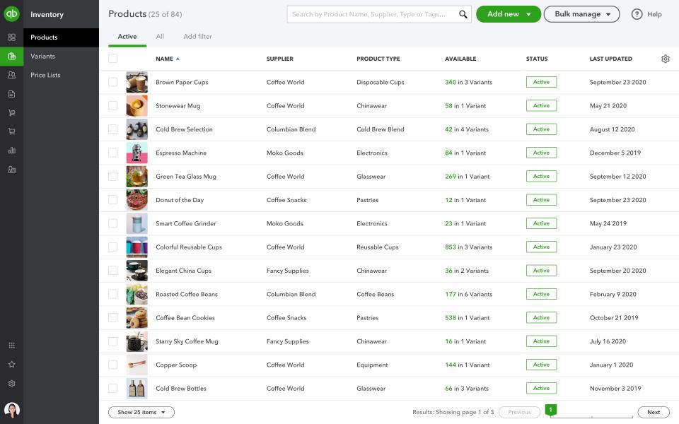 QuickBooks Commerce Software - QuickBooks Commerce product list
