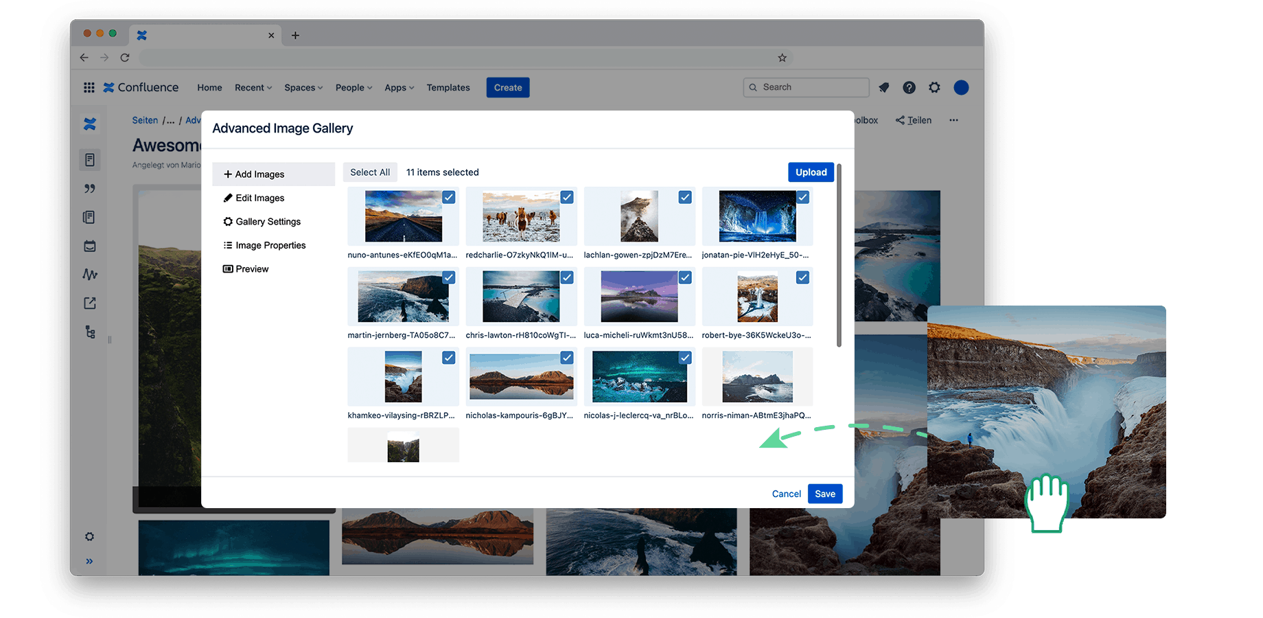 Easy drag and drop images to Confluence.