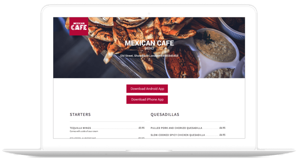 Full menus can be offered in-app and on websites