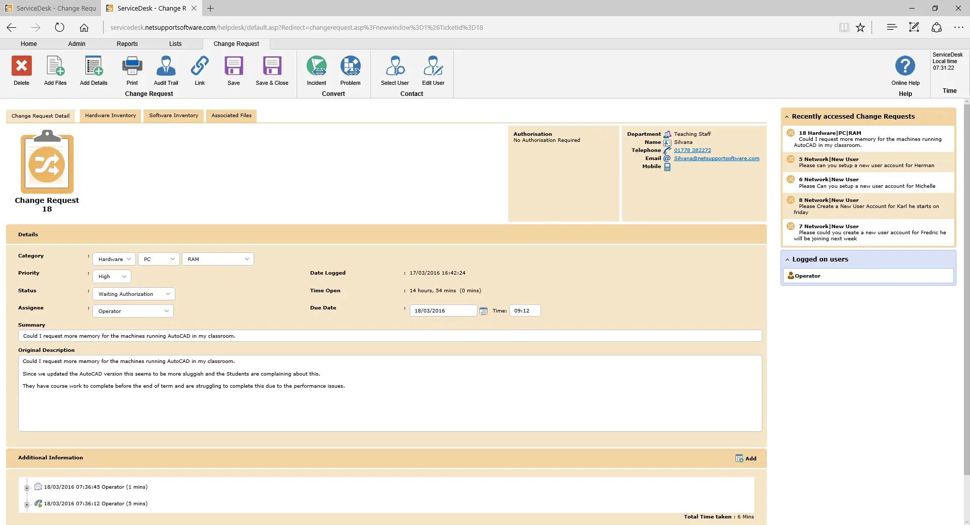 NetSupport ServiceDesk - Change Management view