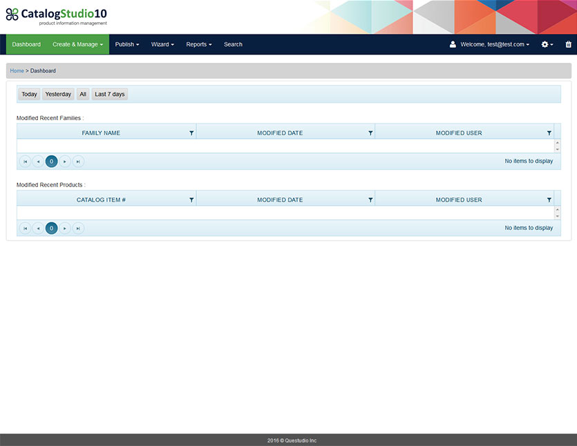 The CatalogStudio Dashboard showing filterable data summaries, for example modified recent product families and modified recent products