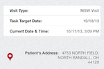 Axxess Home Health screenshot: Axxess AgencyCore users can also use their mobile phones for visit verification and the patient's address.