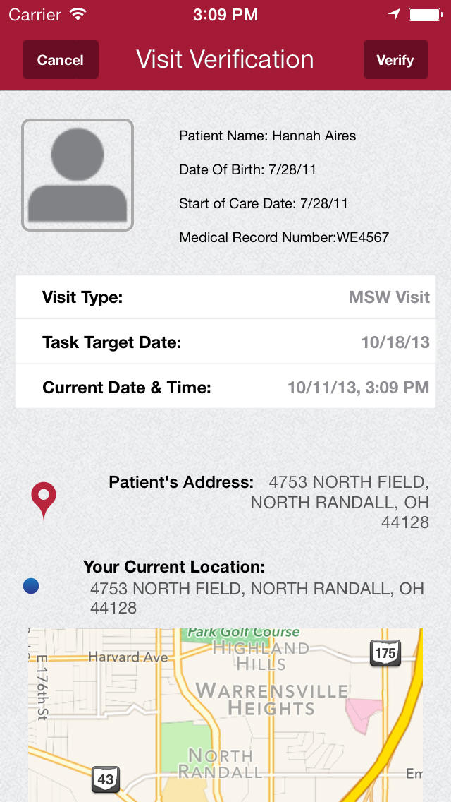 Axxess AgencyCore users can also use their mobile phones for visit verification and the patient's address.