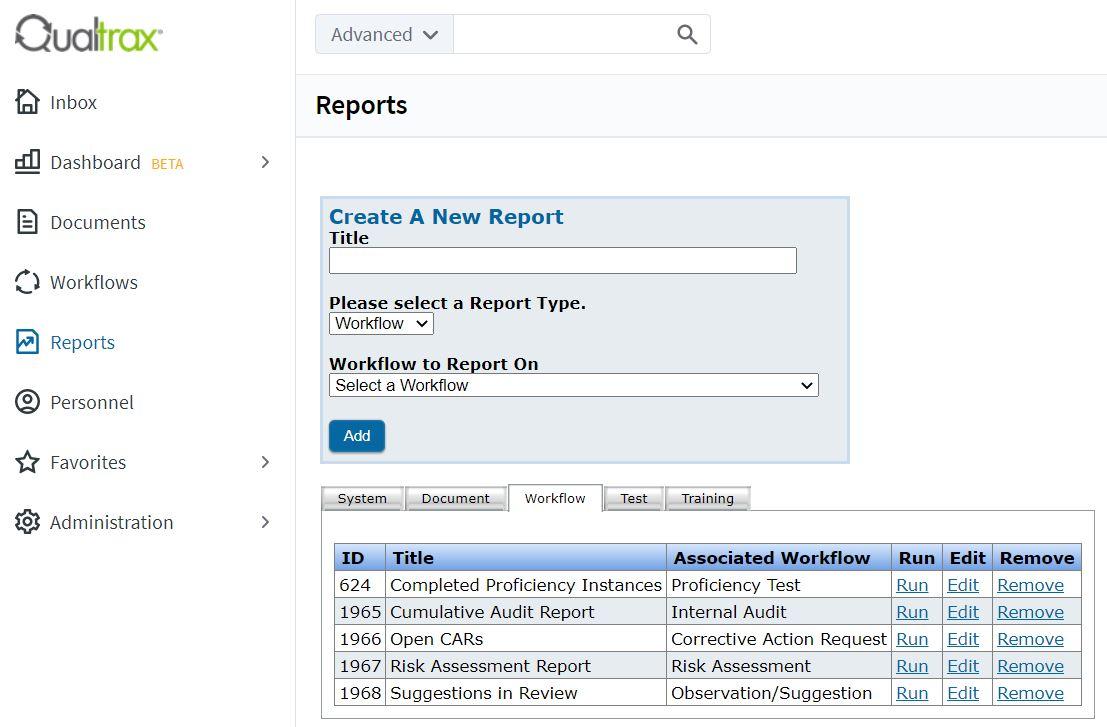 Qualtrax workflow reports
