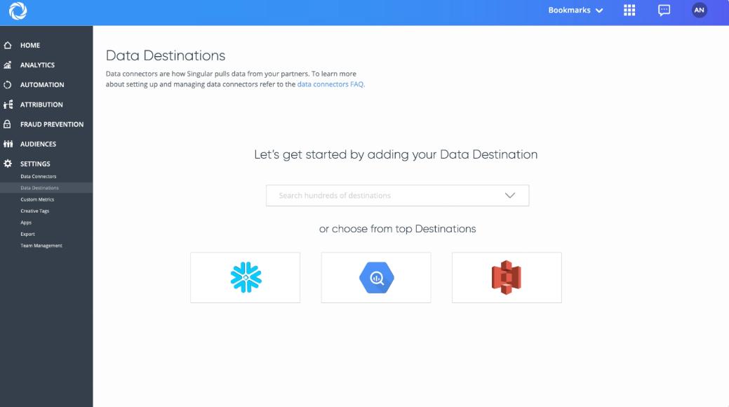 Singular data destinations