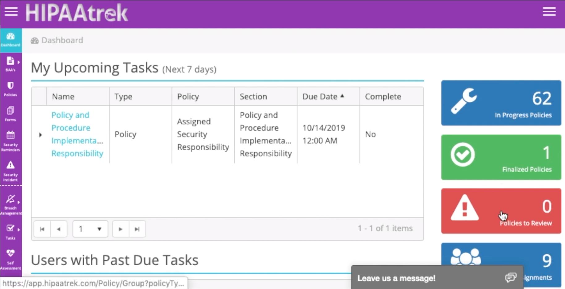 HIPAAtrek task assignment screenshot