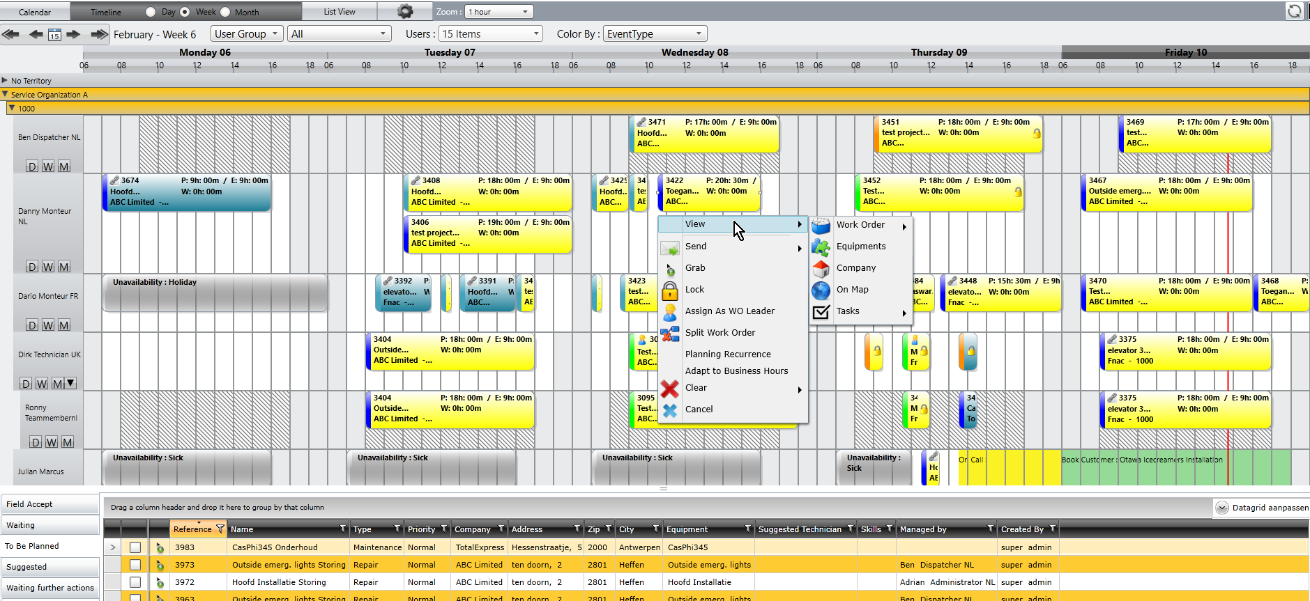 Odyssee Field Service schedule
