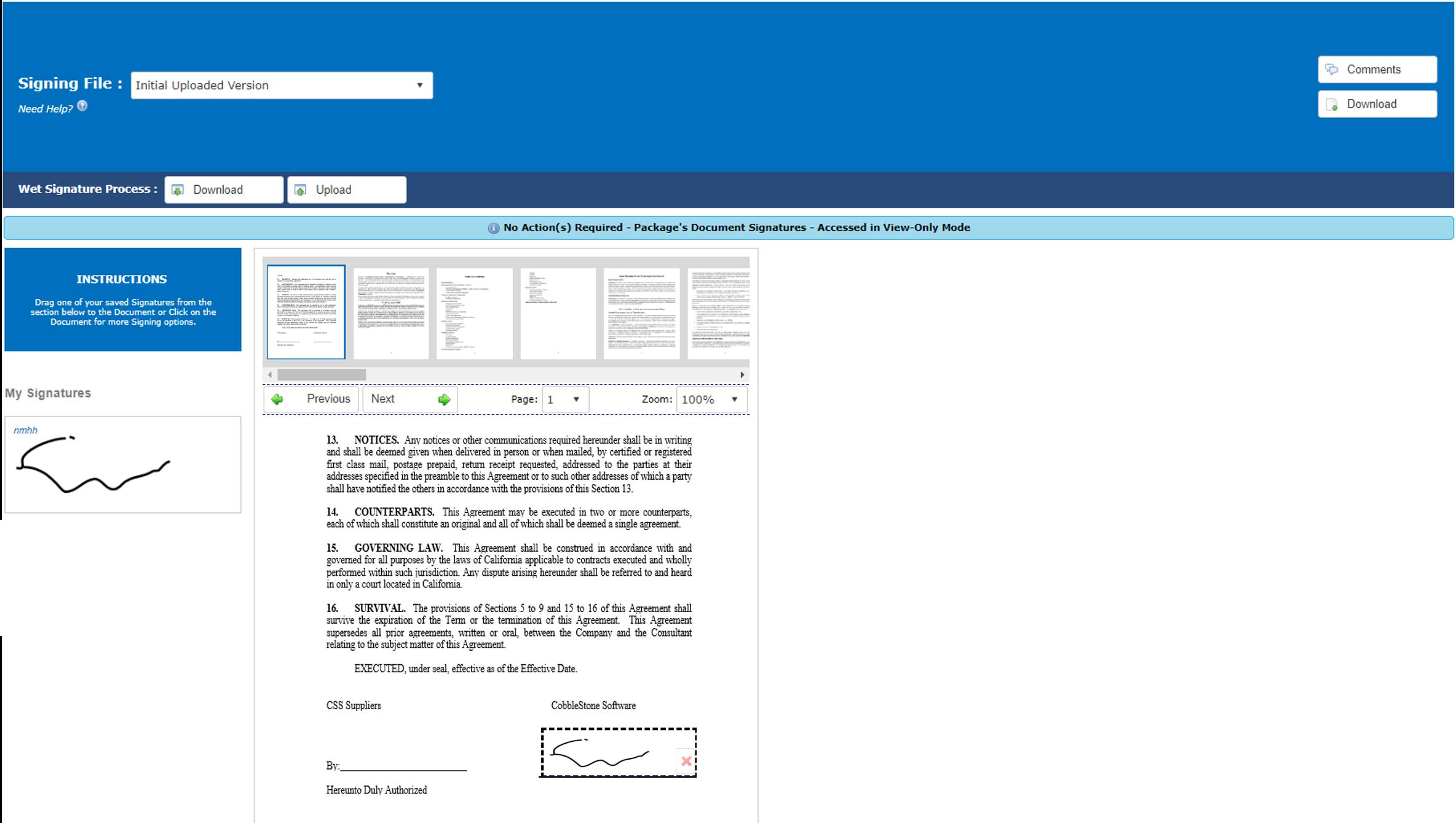 Electronic Signatures with CobbleStone's IntelliSign(SM)