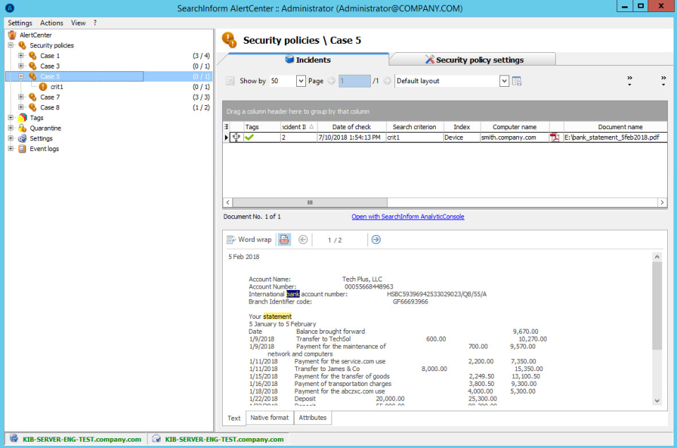 SearchInform Risk Monitor alert center security policies