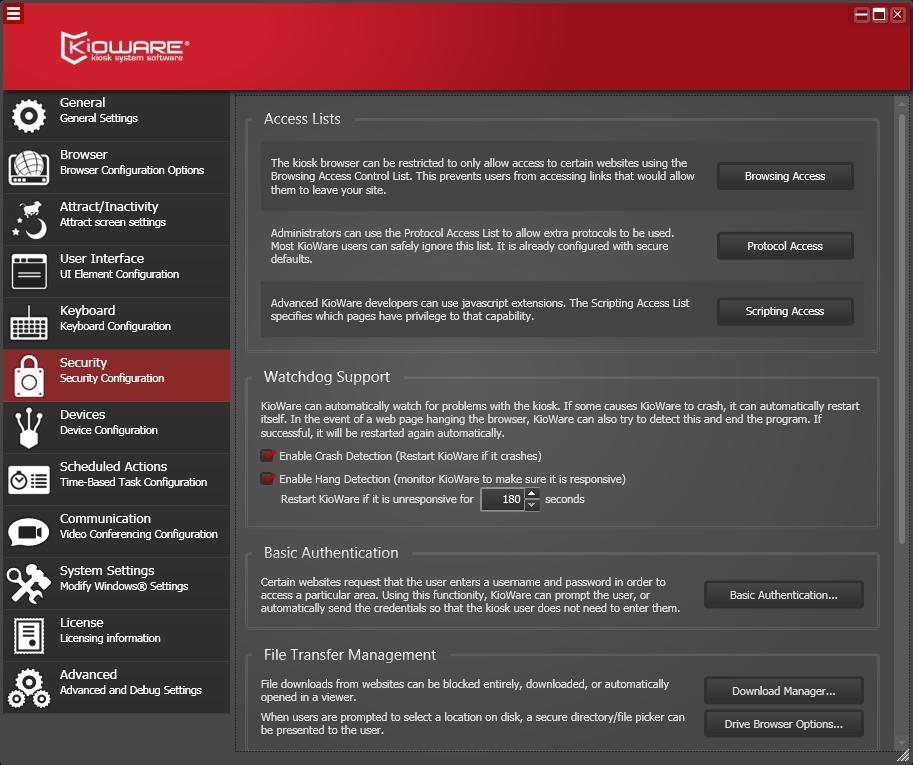 Kioware Kiosk Software security configuration