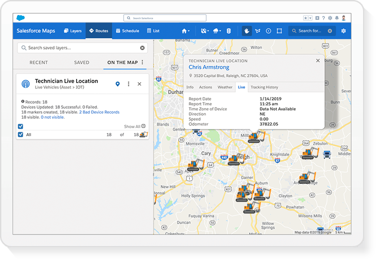 Salesforce Maps Live Tracking