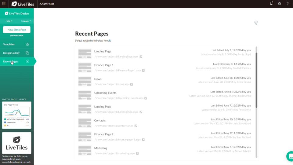 LiveTiles recent pages screenshot