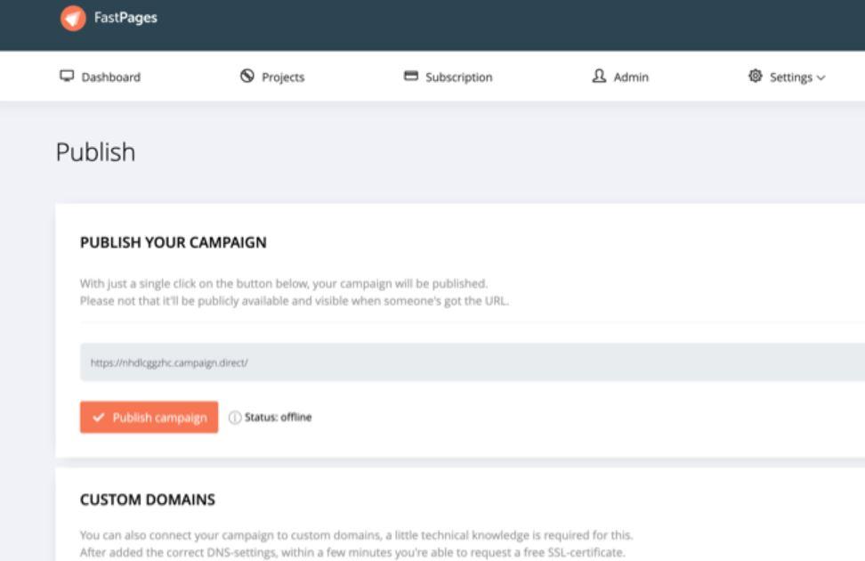 FastPages publish campaigns