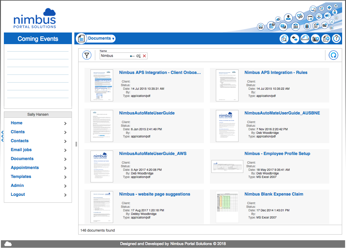 Nimbus Portal Solutions screenshot: Custom documents views can be set up and saved