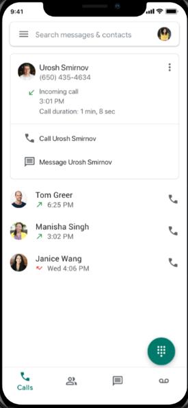 Google Voice calls screenshot